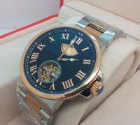 Wholesale New Box Maxi Marine - Factory Seller New In Box AAA Quality Maxi Marine Chronometer 18K Rose gold Pendulum Mens Automatic Movement Watch Black Men's Wrist Watches