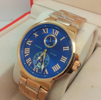 Wholesale New Box Maxi Marine - Factory Seller New In Box AAA Quality Maxi Marine Chronometer 18K Rose gold Mens Automatic Movement Date Watch Blue Dial Men's Wrist Watches