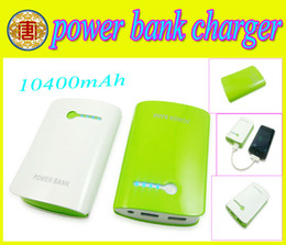 Wholesale External Battery 2a - 10400mAh Portable External Battery Charger Dual USB 2A Power Bank for iPad iPhone Tablet Mobile Phone white and green color