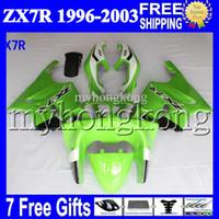 Wholesale Zx7r 1997 - 7gifts For KAWASAKI Light green black white 96-03 NINJA ZX7R MK#1255 1996 1997 1998 1999 2000 2001 2002 2003 greenZX-7R ZX 7R Full Fairings