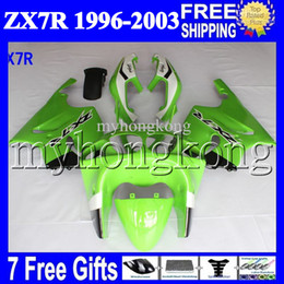 Wholesale zx 7r - 7gifts For KAWASAKI Light green black white 96-03 NINJA ZX7R MK#1255 1996 1997 1998 1999 2000 2001 2002 2003 greenZX-7R ZX 7R Full Fairings