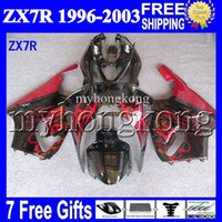 Wholesale kit zx7r for sale - Group buy 7gifts For KAWASAKI NINJA HOT red black ZX7R MK ZX R ZX R Fairing Kit Red flames black
