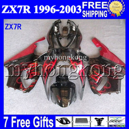 Wholesale 1996 Zx7r Red - 7gifts For KAWASAKI NINJA HOT red black 96-03 ZX7R 1996 1997 1998 1999 2000 2001 2002 2003 MK#1234 ZX-7R ZX 7R Fairing Kit Red flames black