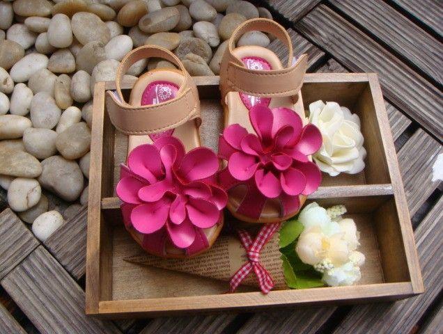 Summer children sandals for girl 3D big flower cowhells bottom pu fabric girls princess shoes 1-3Year baby sandals shoes Retail QS315