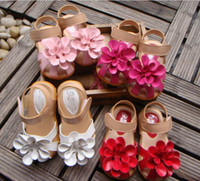 Wholesale Summer Sandal Wholesale - Summer children sandals for girl 3D big flower cowhells bottom pu fabric girls princess shoes 1-3Year baby sandals shoes QS315