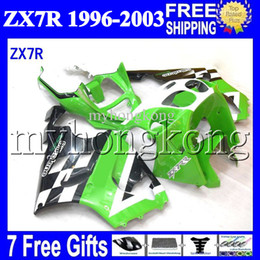 China 7gifts For KAWASAKI NINJA Green white black 96-03 ZX7R 1996 1997 1998 1999 2000 2001 2002 2003 MK#1225 ZX-7R ZX 7R Fairing Green black Kit cheap zx7r 1997 green suppliers