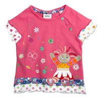 Wholesale Girls Night Garden - Nova kid wear summer Baby girls in the night garden embroidered floral hem t-shirt with stud