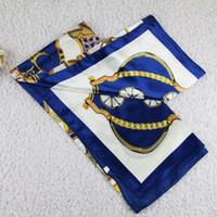 Wholesale Blue Silk Scarf Fabric - Free Shipping+Muslim Cheap Scarf Imitated Silk Fabric Scarves #90*90 Square Flower Print Lady Scarf 20PCS Lot 0801B9