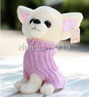 Wholesale Cute Toys For Dogs - candice guo! super cute hot sale plush toy pet dog Chihuahua wearing sweater good for gift pink red 20cm 1pc