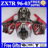 Wholesale 98 Zx7r - 7gifts For KAWASAKI NINJA HOT red black 96-03 ZX7R 96 97 98 99 00 01 02 03 1996 1997 2003 MK#1434 ZX-7R ZX 7R Fairing Kit Red flames black