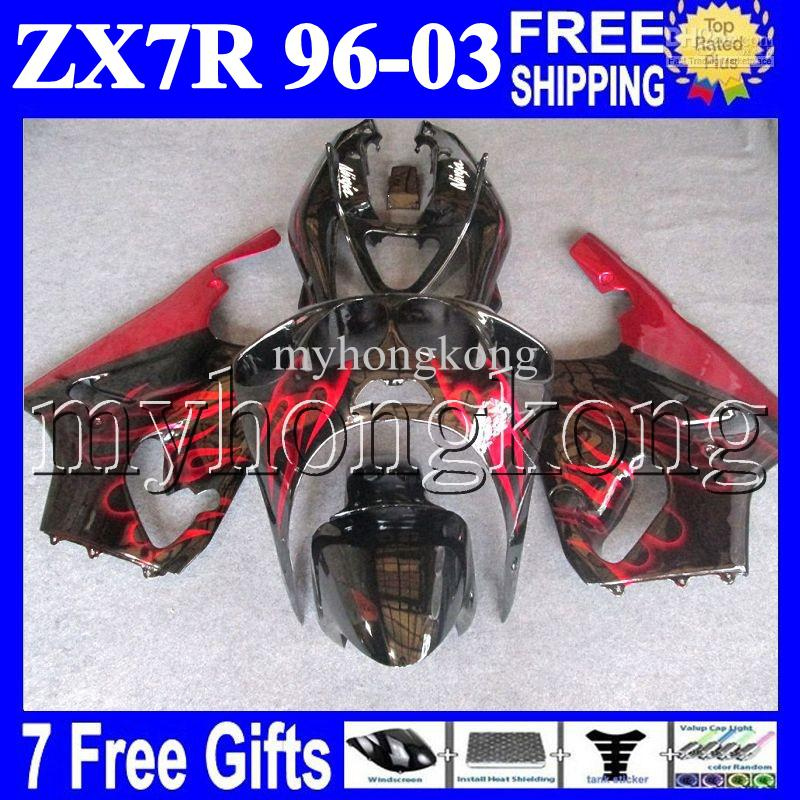 7gifts For KAWASAKI HOT red black 96-03 ZX7R 96 97 98 99 00 01 02 03 1996 1997 2003 MK#1434 ZX-7R ZX 7R Fairing Kit Red flames black