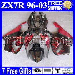 Wholesale Zx 7r - 7gifts For KAWASAKI NINJA HOT red black 96-03 ZX7R 96 97 98 99 00 01 02 03 1996 1997 2003 MK#1434 ZX-7R ZX 7R Fairing Kit Red flames black