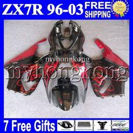 Wholesale 97 Kawasaki Zx7r - 7gifts For KAWASAKI NINJA HOT red black 96-03 ZX7R 96 97 98 99 00 01 02 03 1996 1997 2003 MK#1434 ZX-7R ZX 7R Fairing Kit Red flames black