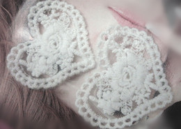 Wholesale Heart Motifs - Free shipping! 100pcs lot heart shape cotton white embroidery lace patch motif applique home decor DIY crafting accessory