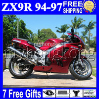 Wholesale 94 Zx9r Fairing Kit - 7gifts Custom For KAWASAKI ALL Gloss red NINJA ZX9R 94-97 ZX-9R 94 95 96 97 MK#1507 body ZX 9R 9 R 1994 1995 1996 1997 dark red Fairing Kit