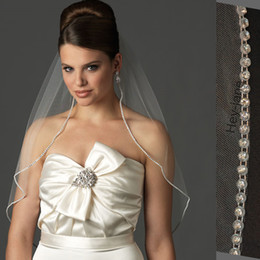 Wholesale Net Pictures - Free Shipping One Layer Wedding Bridal Veil white ivory Elbow Length Crystal Beaded With Comb Real Picture