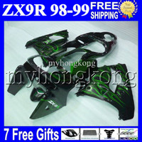 Wholesale 98 kawasaki ninja zx9r fairings - 7gifts+Free Custom For KAWASAKI Green flames 98 99 NINJA ZX9R MK#1644 ZX-9R 9 R ZX 9R HOT Green black 98 99 1998 1999 100%NEW Fairing Kit