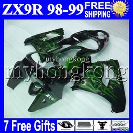 Wholesale Ninja Zx9r 1998 - 7gifts+Free Custom For KAWASAKI Green flames 98 99 NINJA ZX9R MK#1644 ZX-9R 9 R ZX 9R HOT Green black 98 99 1998 1999 100%NEW Fairing Kit