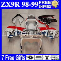 Wholesale Zx9r White Red Fairings - White red 7gifts 100%NEW For KAWASAKI NINJA ZX9R 98-99 ZX-9R 9 R 98 99 RED WHITE BLUE MK#1611 ZX 9R 1998 1999 Free Custom Bodywork Fairing