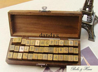Wholesale Decorative Rubber Stamps Set - Free Shipping NEW 42 pcs set Creative letters & number stamp set  wooden box   Decorative DIY work  Wholesale