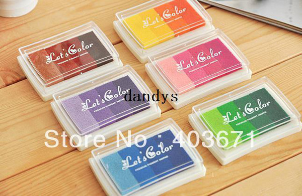 best selling Free Shipping New Nice Let's Color Ink pad  Stamp inkpad set for DIY funny work   Wholesale