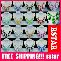 Wholesale Bubble Resin Necklace - New Women resin gem Bubble Bib Statement Fashion Necklace 6 Colors 12Pcs lot mix color hot sale XL10