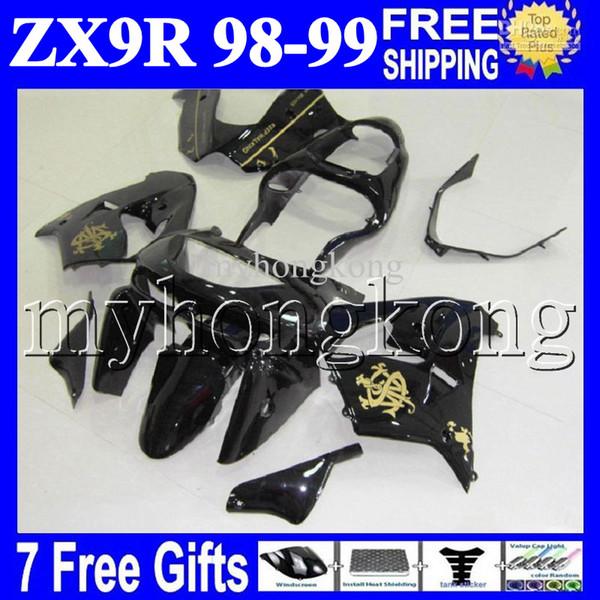 Schwarz gold 7gifts 100% NEU Für KAWASAKI NINJA ZX9R 98-99 ZX-9R 9 R 98 99 MK # 1604 ZX 9R 1998 1999 schwarz gold Kostenlose Custom Bodywork Verkleidung