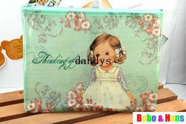 무료 배송 / NEW 귀여운 PVC 인형 소녀 스타일 연필 가방 / A5 그리드 파일 가방 / 동전 주머니 / 파우치 / 도매