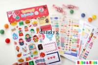 rus bebek setleri toptan satış-Ücretsiz Kargo / yeni 12 adet / takım Yummy Arkadaşlar rusça doll deco sticker / PVC / kağıt Dekorasyon etiket / Toptan