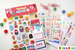 Wholesale Graphics Set - Free Shipping  new 12 pcs set Yummy Friends russian doll deco sticker   PVC   paper Decoration label   Wholesale