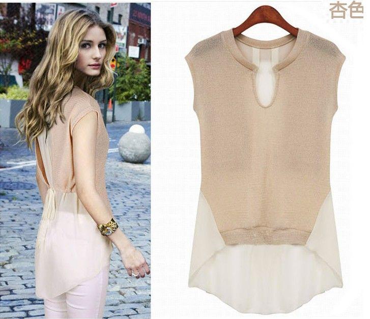 Новый женский стиль девушки моды круглым вырезом шифон рубашки дамы Летняя одежда без рукавов рубашки