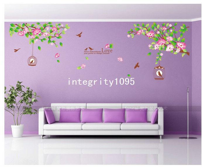 Hibiscus Flowers Tree Cage Romantic Bedroom Living Room Dining Room TV  Setting Sofa Decorative Wall Stickers Decals Free Ship
