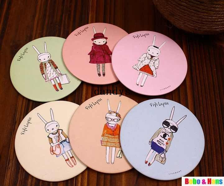 New Cute Fifi Lapin Hand Make Up Mirror Portable Pocket Cosmetic Fashion Wholesale Vanity With Bathroom Wall Mirrors From Dandys