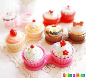 Free Shipping  new cute Cream cake styles contact lenses case & box   lens Companion box   Wholesale