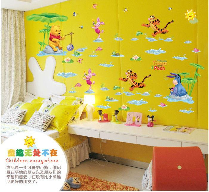 Tiger And Bear Wall Sticker Anime Cartoon Nursery Daycare Baby Room ...