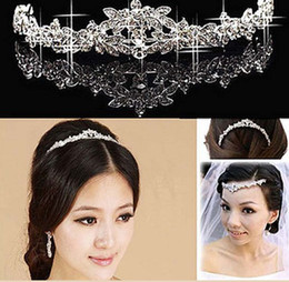 Wholesale Wedding Elegant Headdresses - elegant Wedding Bridal prom Jewelry crystal Tiara headpiece headband headwear hairwear floral headdress belly dance hair accessories wh016h