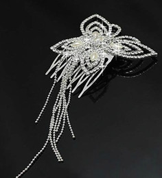 Wholesale Bridal Tiara Hair Crown Butterfly - elegant Wedding Bridal prom jewelry crystal butterfly tassel Tiara headpiece hair comb headwear floral headdress hair accessories jt085