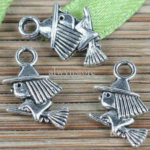 50 adet Tibet gümüş renk sihirli adam tasarım charms EF0212