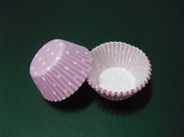 Wholesale Base For Cupcakes - lastest cute mini pink color dots 2.5inch(base 24mm) cupcake liners baking paper cup muffin cases for wedding Halloween graduation party