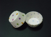 Wholesale Base For Cupcakes - 2017 lovely cute fashion hot white colorful dots 2.5inch(base 24mm) cupcake liners baking paper cup muffin cases for wedding Halloween party