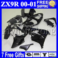 Wholesale Zx9r Decals - 7gifts+Custom For ALL Black KAWASAKI NINJA ZX9R 00-01 00 01 ZX-9R MK#1703 9 R Glossy black no decals ZX 9R 2000 2001 00 01 COOL Fairing Kit