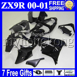 Wholesale Kawasaki Decals Black - 7gifts+Custom For ALL Black KAWASAKI NINJA ZX9R 00-01 00 01 ZX-9R MK#1703 9 R Glossy black no decals ZX 9R 2000 2001 00 01 COOL Fairing Kit