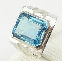 Wholesale Topaz Gemstone Men Rings - Men ring Blue topaz ring 925 sterling silver plated 18k white gold ring Natural blue topaz Free shipping Perfect Jewelry #DH-13080243