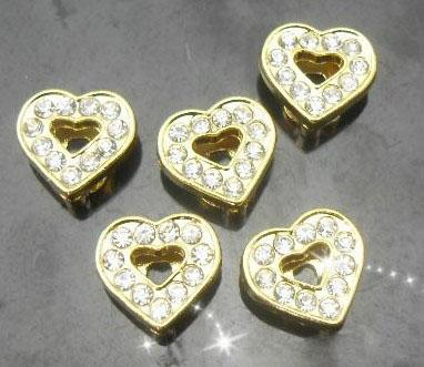 Hurtownie 8mm 100 sztuk / partia Dżetów Gold Color Heart Slide Liters Fit dla 8mm Bransoletka na rękę Moda biżuteria