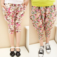 Wholesale Tapered Spring - New style Kids Casual Pants Summer Cropped Trousers Tapered Flower Pants Girls Pants Kids Clothes Children Clothing Girls Wear