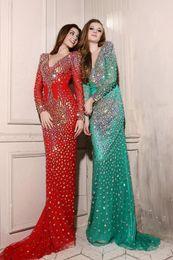 Wholesale Sexy Beautiful Evening Dresses - New arrival 2015 beautiful long sleeve evening dresses full length beaded V neck fashion Prom Dresses