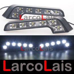 Wholesale Universal Led Daylights Car - 2x6 LED Daytime Running Light DRL Driving Daylight Car Fog Lamp Bulb Super Bright