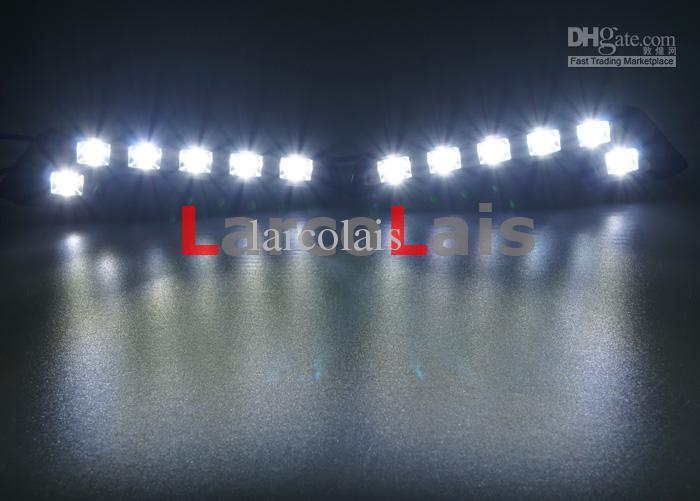 2x6 LED Luz de conducción diurna DRL Conducir Luz del día Luz antiniebla del coche Bombilla Super brillante