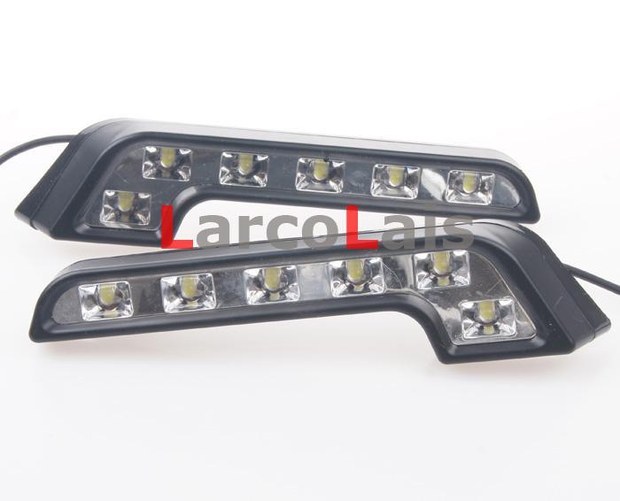 Luz running DRL do dia do diodo emissor de luz 2x6 que conduz o super brilhante do bulbo de lâmpada da névoa do carro da luz do dia