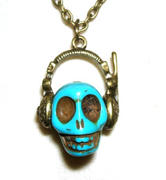 Wholesale Skull Dj Headphones - Skull with headphones necklace DJ skeleton day of the dead steampunk NW1215